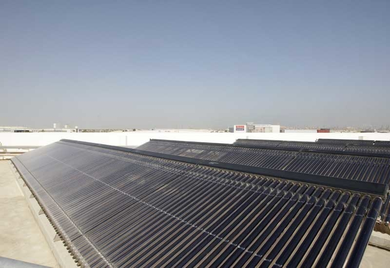 Solar thermal panels on the facility's roof provide the air conditioning for the entire building.