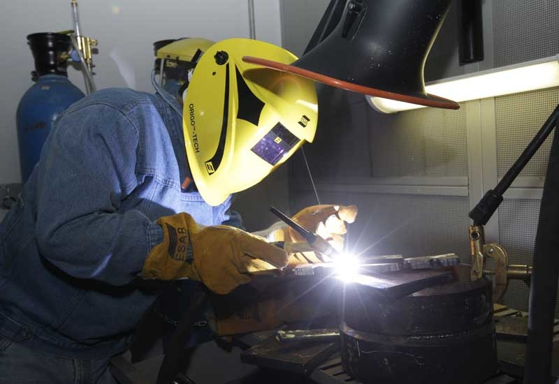 One of ESAB's welding trainees in the company's training workshops at it's new Jebel Ali facilty.