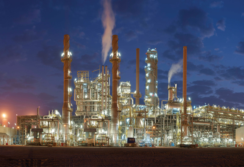 LyondellBasell and Sahara's JV Al-Waha complex at night - a 450,000 tpa polypropylene plant in Al-Jubail Industrial City.