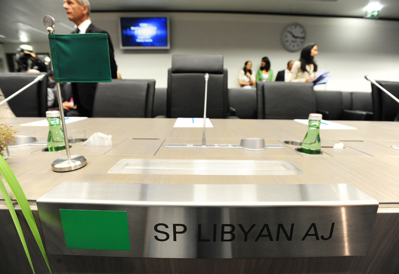 Libya's empty seat. A delegate did attend, but did not meet the media. GETTY IMAGES
