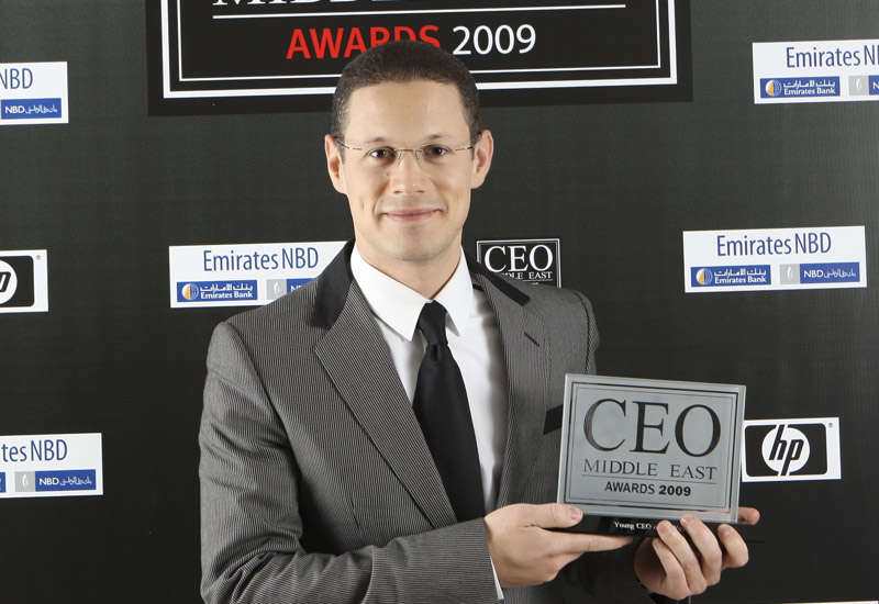 Badr Jafar, the executive director of the Sharjah-based Crescent Petroleum with his award.