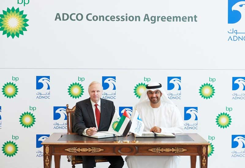BPs Group CEO Bob Dudley (left) at an earlier signing in Abu Dhabi with the Abu Dhabi National Oil Companys Group CEO, Dr Sultan Ahmed Al Jaber.
