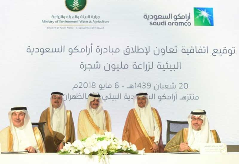 An MoU was signed between Saudi Aramco and the Ministry of Environment, Water, and Agriculture, Saudi Arabia, regarding planting of one million trees. (Photo courtesy: Moayed Al-Qattan/MPD)