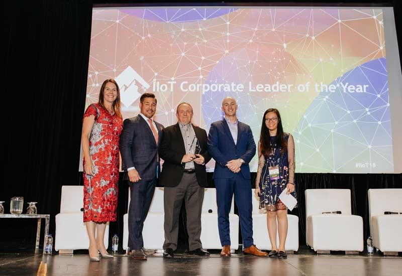 Emersons CTO Peter Zornio, third from left, accepts the McRock Capital IIoT Corporate Leader of the Year award on behalf of the company from the McRock Capital team, including, from left to right, co-founders and managing partners Whitney Rockley and Scott McDonald, principal Jeremy Gilman and associate Ha Nguyen at the firms IIoT Symposium.