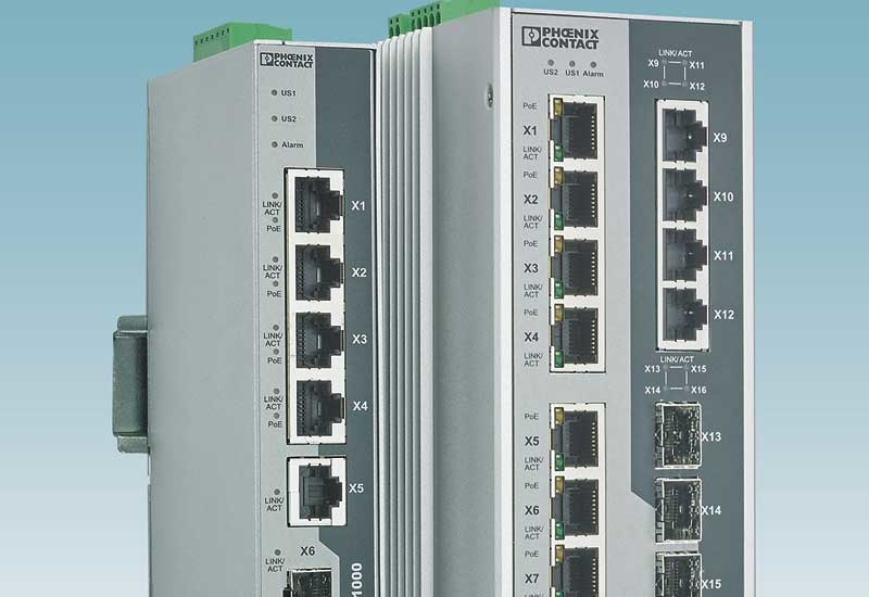 The new unmanaged and managed switches from Phoenix Contact are suited for harsh ambient conditions in applications such as video monitoring, machine automation, and building automation.