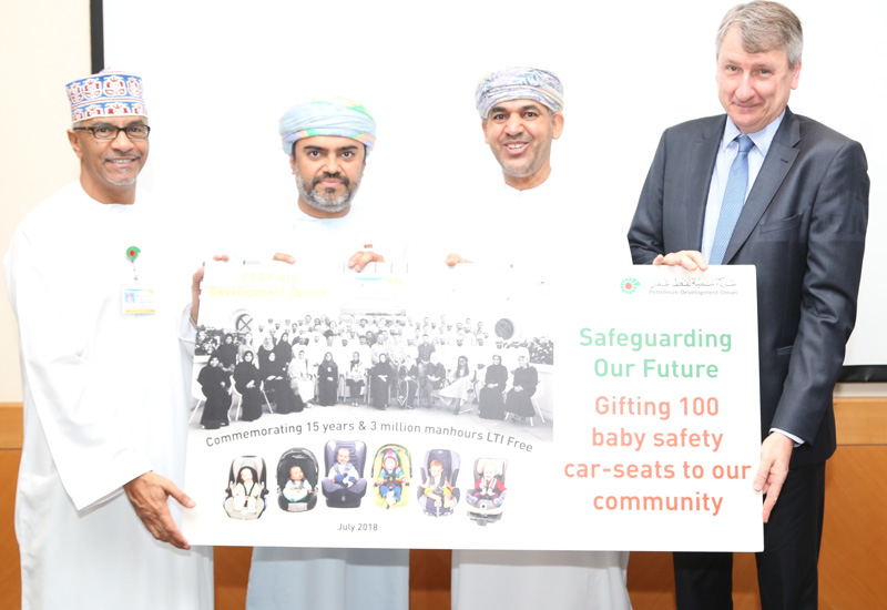 PDO managing director Raoul Restucci hands over the donation for the car safety seats.