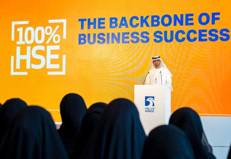 Dr Sultan Ahmed Al Jaber, UAE minister of state and ADNOC Group CEO, introduces a unified set of 10 Life Saving Rules, which will apply across the ADNOC Group, at its 2018 Group-wide Safety Day function.