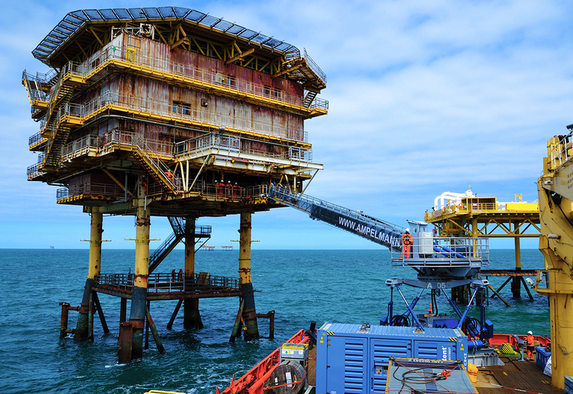An Ampelmann gangway in the North Sea, off the coast of Aberdeen.