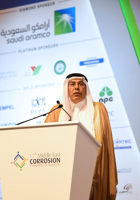 Saudi Aramco Vice President of Engineering Services Abdullah Al-Baiz delivered the keynote speech at the 17th Middle East Conference and Exhibition