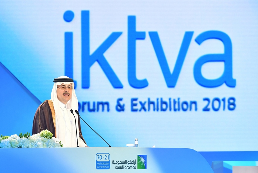 Saudi Aramco CEO Amin Nasser addresses the crowd at the fourth annual IKTVA Forum