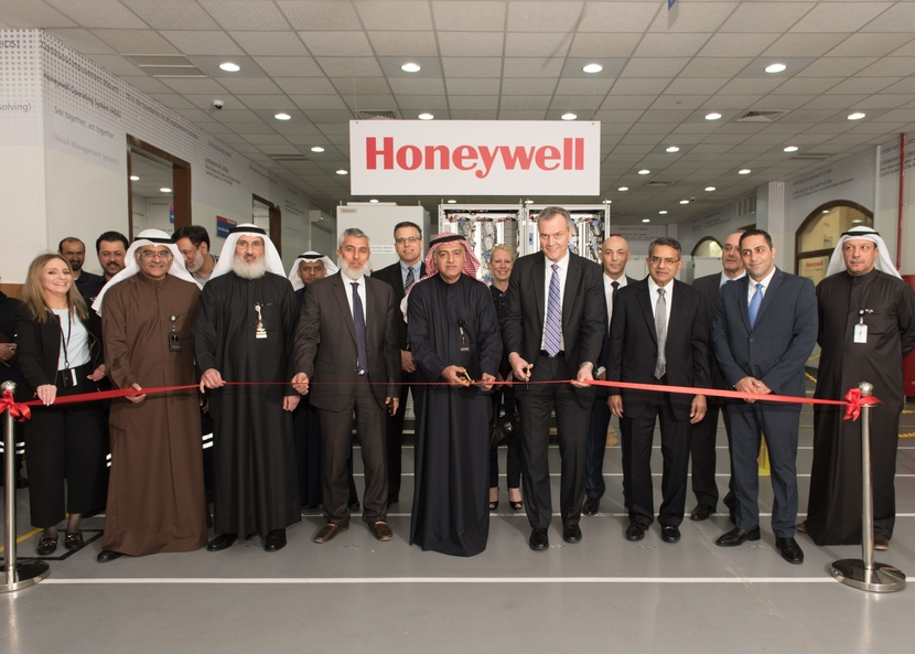 Honeywell's Chairman and CEO Darius Adamczyk and Kuwait Petroleum Corporation (KPC) Deputy Chairman and CEO Hashem Hashem inaugurate Kuwait's first certified in-country manufacturing, integration and testing center for advanced oil and gas technologies in Mina Abdullah, southern Kuwait, in the presence of senior executives on Wednesday, February 20, 2019.