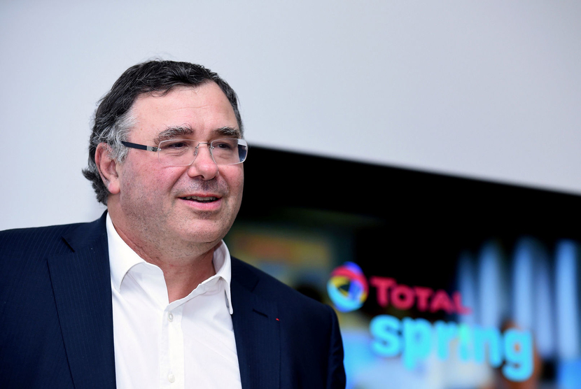 Total Chief Executive Officer CEO Patrick Pouyanne addresses a press conference to present the new Total Spring gas and electricity offer on October 5 2017 in Paris