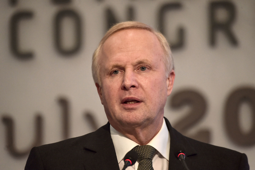 British Petroleum BP Chief Executive Bob Dudley addresses The 22nd World Petroleum Congress in Istanbul on July 12 2017