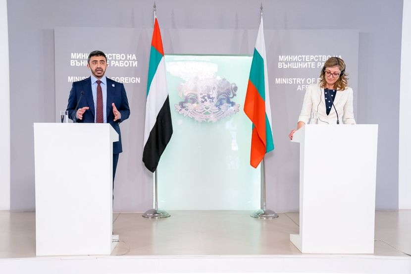Sheikh Abdullah bin Zayed Al Nahyan, Minister of Foreign Affairs and International Cooperator, with Ekaterina Zaharieva, Bulgaria's Deputy Prime Minister for Judicial Reform and Minister of Foreign Affairs