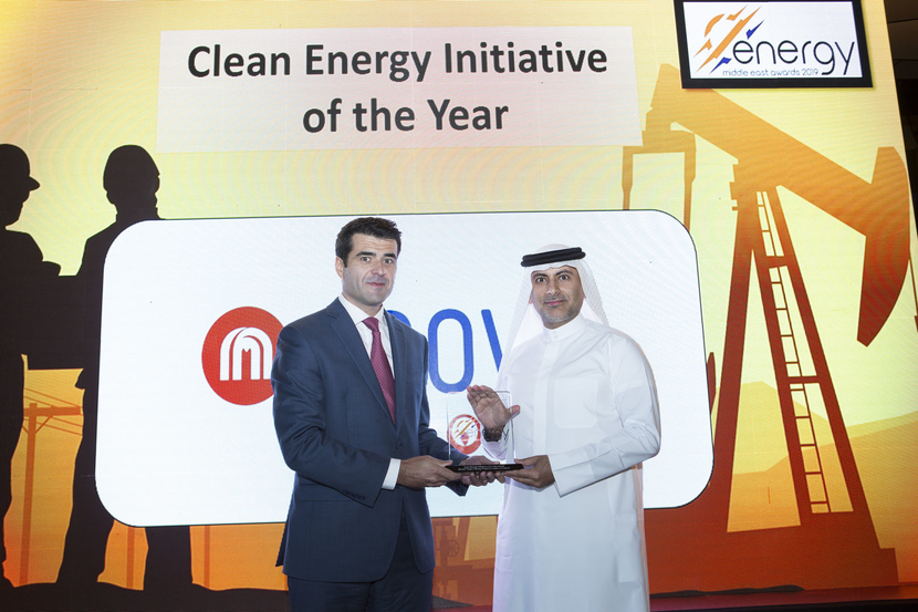 Francisco Ramalheira (left), director – business development and marketing, Enova, presents the Clean Energy Initiative of the Year Award won by Masdar and bee'ah for the Sharjah Waste to Energy Project to Khaled Al Huraimel, group CEO, bee'ah, at the 2019 Middle East Energy Awards.