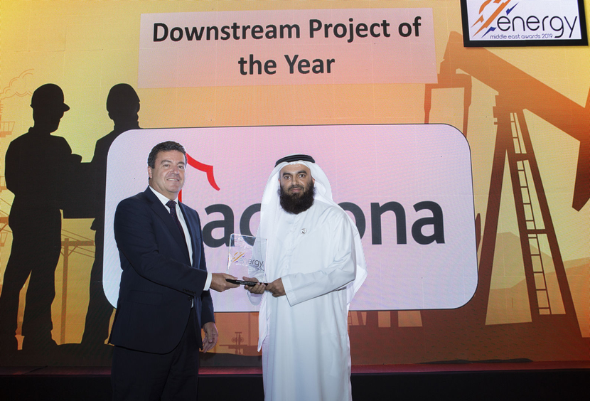 Hassan Al Hosani (right), vice president, refining business, Downstream Directorate, ADNOC, receives the Downstream Project of the Year Award won by ADNOC for Project Stretch from Jesús Sancho, Middle East managing director for ACCIONA, at the 2019 Middle East Energy Awards.