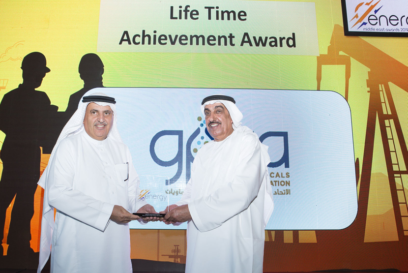Dr Abdulwahab Al-Sadoun (left), secretary general, Gulf Petrochemicals and Chemicals Association (GPCA), presents the inaugural Lifetime Achievement Award to His Excellency Saif Humaid Al Falasi, group CEO of ENOC, at the 2019 Middle East Energy Awards.