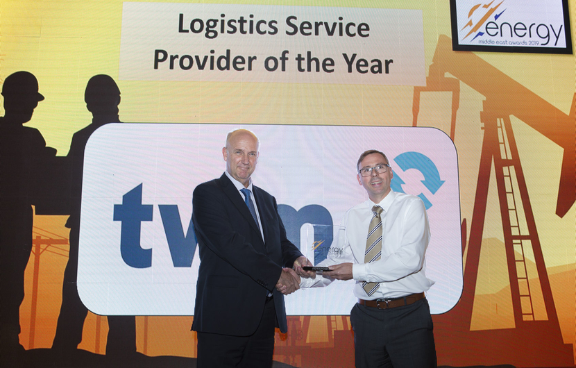 Nicolaas Paardenkooper (left), CEO, Brooge Petroleum and Gas Investment Company, receives the Logistics Service Provider of the Year Award won by Brooge Petroleum and Gas Investment Company from Mark Walker, group CFO, TWMA, at the 2019 Middle East Energy Awards.