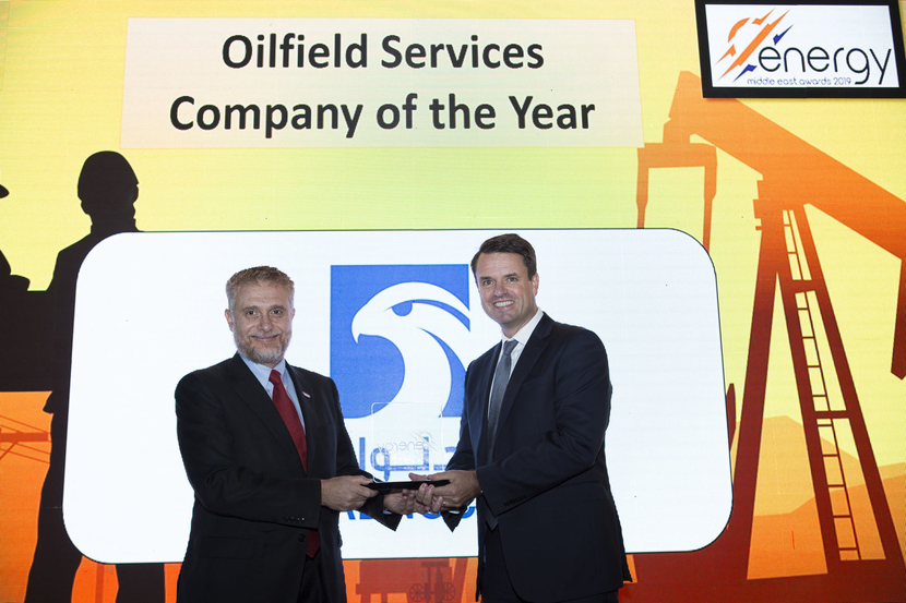 Mark Halley Liebster (right), vice president, investment planning, ADNOC, presents the Oilfield Services Company of the Year Award won by Halliburton to Ahmed Kenawi, senior vice president, MENA region, Halliburton, at the 2019 Middle East Energy Awards.