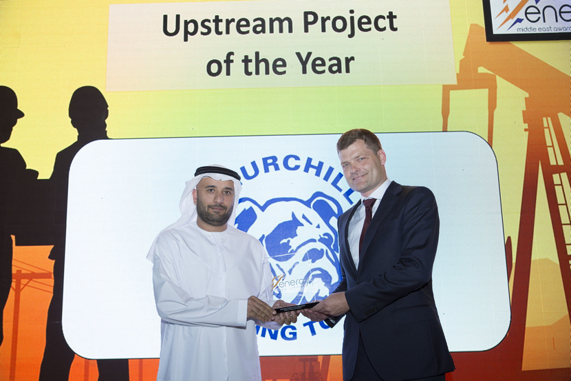 Nicholas Kjaer (right), general manager, Middle East and Asia, Churchill Drilling Tools, presents the Upstream Project of the Year Award won by ADNOC for the Ghasha Project to Dr Adel Bin Subaih, vice president, undeveloped reservoirs projects division, Upstream Directorate, ADNOC, at the 2019 Middle East Energy Awards.