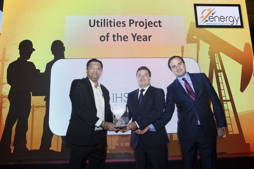 Jesús Sancho (centre), managing director – Middle East, ACCIONA, and Javier Nieto (right), project director, ACCIONA, receive the Utilities Project of the Year Award won by the consortium of ACCIONA, Marubeni, ALJ and Al Rawafid for the Shuqaiq 3 Desalination Plant from Vinod Raghothamarao, director, Energy Wide Perspectives & Strategy, IHS Markit EMEA, at the 2019 Middle East Energy Awards.