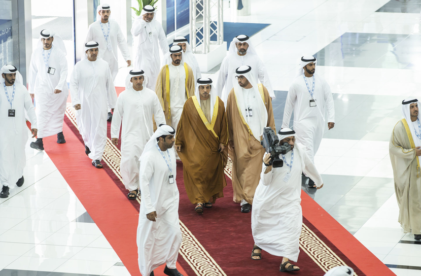Sheikh Mansour bin Zayed Al Nahyan, deputy prime minister and minister of presidential affairs, inaugurated ADIPEC, accompanied by Dr. Sultan Al Jaber, ADNOC Group CEO, and Sheikh Khalifa bin Tahnoun Al Nahyan, executive director of the Martyrs' Families' Affairs Office at the Abu Dhabi Crown Prince's court.